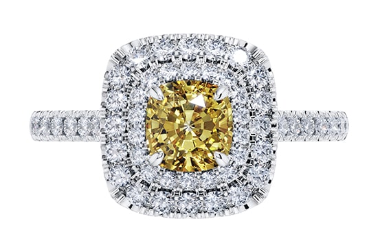 Danielle Yellow Diamond Claw Set Halo Engagement Ring set in 18k White Gold STR0429-min
